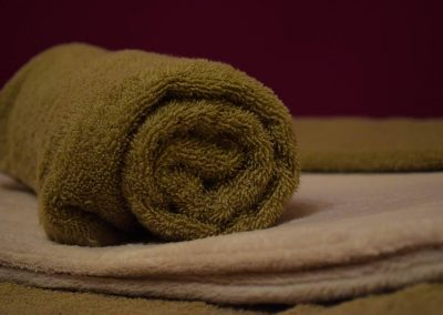 rolled up towel